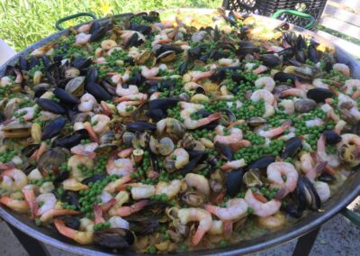 Le Chene Paella Cooking Green Peas 2
