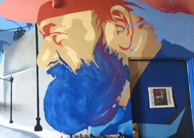 A Mural of Le Chene's Juan Alonso at Angeleno Wines